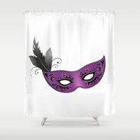 mask Shower Curtains featuring mask by Li-Bro