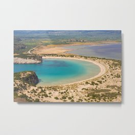 Beautiful lagoon of Voidokilia from a high point of view, Messenia, Greece Metal Print