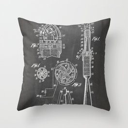 Rocket Ship Patent - Nasa Rocketship Art - Black Chalkboard Throw Pillow