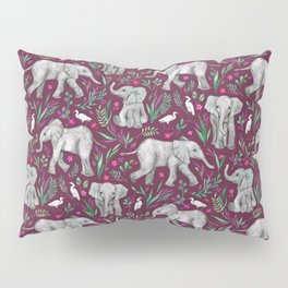 Baby Elephants and Egrets in Watercolor - burgundy red Pillow Sham