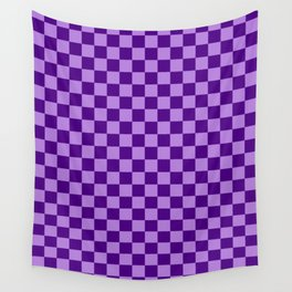 Lavender Violet and Indigo Violet Checkerboard Wall Tapestry