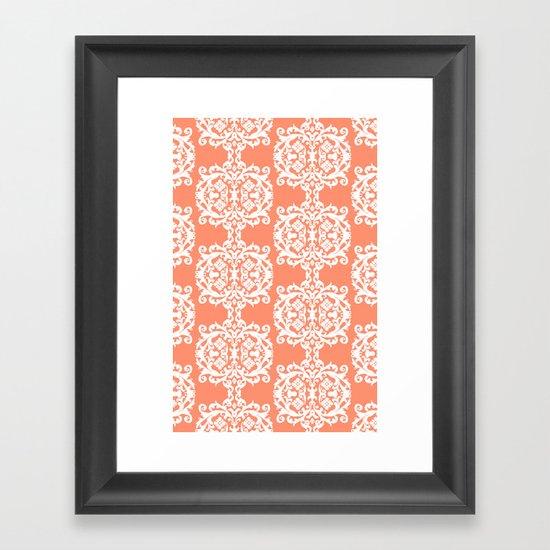 Behind Damask - Peach Framed Art Print