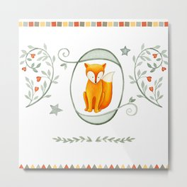 Friendly Fox Metal Print