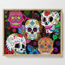 Rocking Color Sugar Skull Day Of The Dead Serving Tray
