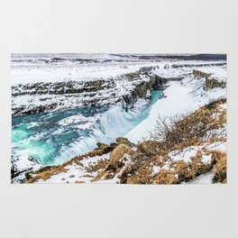 Gulfoss Iceland in Winter Rug
