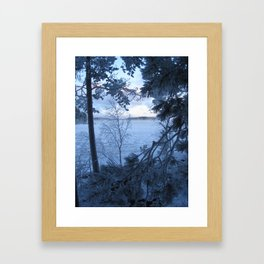 Frosty lake view Framed Art Print