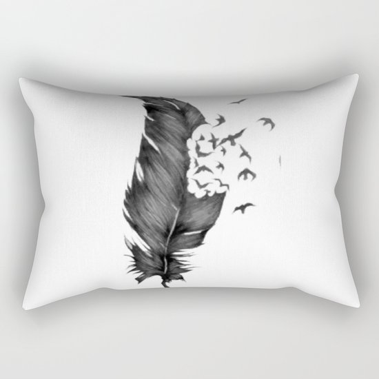 Black Feather into Birds Rectangular Pillow