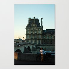 Women with Bike, staring into Seine River Canvas Print