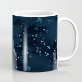 Dark sky with clouds, birds and stars Coffee Mug