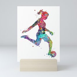 Girl Soccer Player Watercolor Print Sports Print Soccer Player Poster Mini Art Print