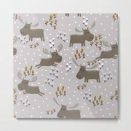 Moose in the Winter Meadow Metal Print