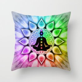In Meditation With Chakras III Throw Pillow