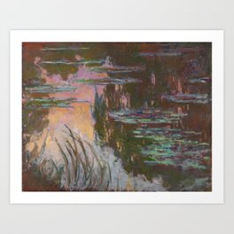 Water Lilies - Setting Sun by Claude Monet Art Print