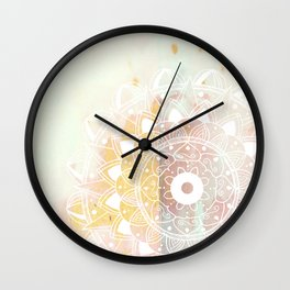 Delicate white mandala on pink Wall Clock