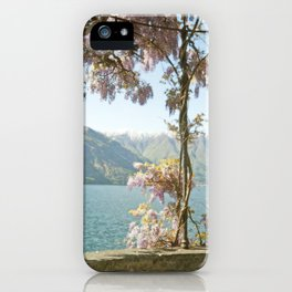 Lavender Wisteria Flowers and Mountains iPhone Case