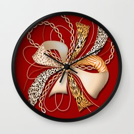 Decorative ornate luxury bow-tie. Claret red background. 2 Wall Clock