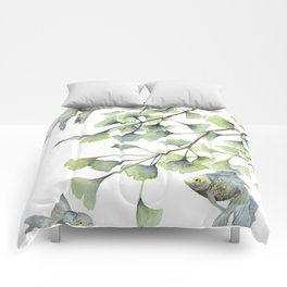 Mint Green Ginkgo Leaves and Green Goldfish Watercolor Design Comforters