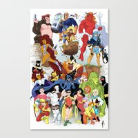 teen titans Canvas Prints featuring Teen Titans by poopsmoothie