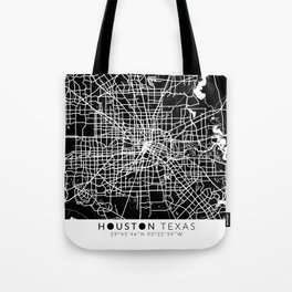 Houston Texas Map With Coordinates Tote Bag