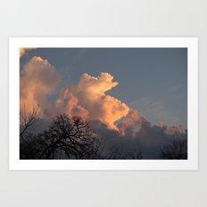 the clouds seem to mimic the treeline. Art Print