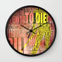 kill bill Wall Clocks featuring Kill Bill redux by Purple Cactus