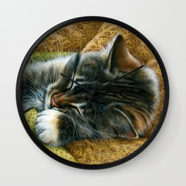 Tabby Cat On Old Fabric Wall Clock