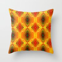 orange pattern Throw Pillows featuring Orange Pattern by Art-Motiva
