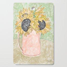Fall Sunflower Bouquet in Pitcher Offset Cutting Board