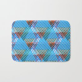 Geometric striped print with diagonal colorful lines and stripes Bath Mat