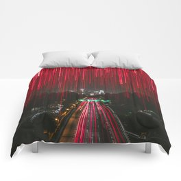 Lights and the LA Skyline at Night Comforters