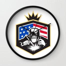 Welder Arc Welding USA Flag Crest Retro Wall Clock