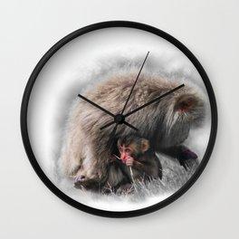 Baby Snow Monkey Wall Clock