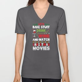 Drink Wine and Watch Christmas Movies Unisex V-Neck
