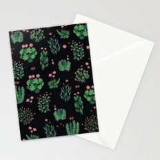 green and black garden with red flowers Stationery Cards