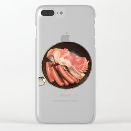 Meat Pan, Photograph of hot dogs and bacon while camping Clear iPhone Case
