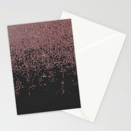 Chic Rose Gold Speckled Glitter Ombre Black Stationery Cards