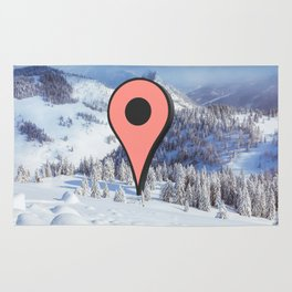 Wish I was there (google marker snowy mountain) Rug