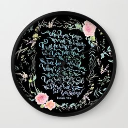 I Will Be With You - Isaiah 43:2 / Black Wall Clock