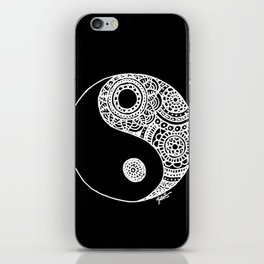Black and White Lace Yin Yang iPhone Skin