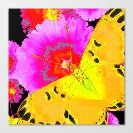 MODERN ART YELLOW BUTTERFLIES & FUCHSIA PINK FLOWERS Canvas Print