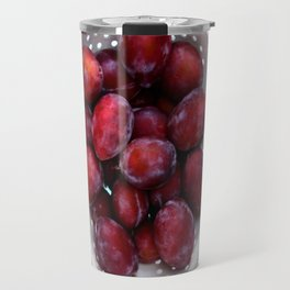 Some violet plums in a white glazed colander. Travel Mug