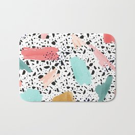 Coral Mint Gold Abstract Art Pattern with Terrazzo Stone Background Bath Mat