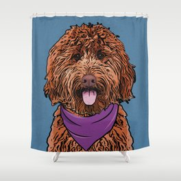 Icons of the Dog Park: Labradoodle Design in Bold Colors for Pet Lovers Shower Curtain