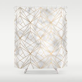 Geometric Gold Pattern on Marble Texture Shower Curtain