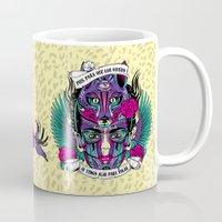frida Mugs featuring Frida by Fly Design Studio