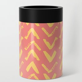 Modern Brush Stroke Chevrons - Coral & Yellow Can Cooler