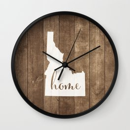 Idaho is Home - White on Wood Wall Clock