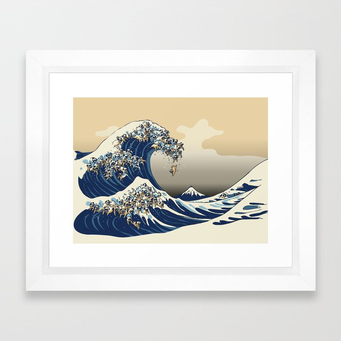 The Great Wave of Pugs Vanilla Sky Framed Art Print