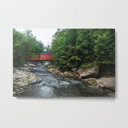 McConnells Mill - Red Covered Bridge Metal Print