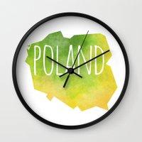 poland Wall Clocks featuring Poland by Stephanie Wittenburg